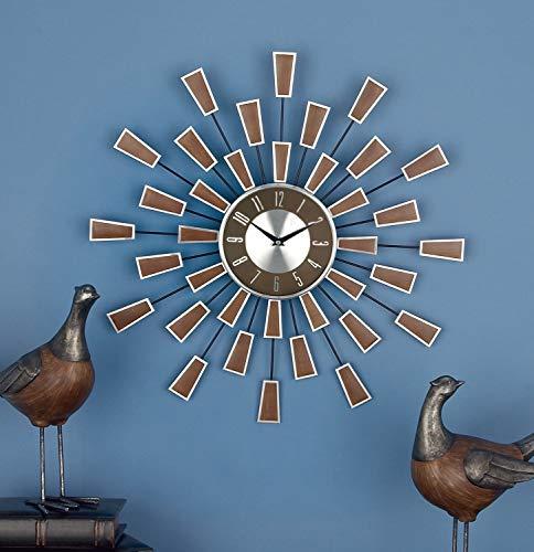 Deco 79 98433 Metal Wall Clock, 22', Brown/Silver/Black