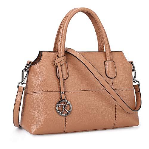 Kattee Genuine Leather Handbags for Women, Soft Hobo Satchel Shoulder Crossbody Bags Ladies Purses (Brown)
