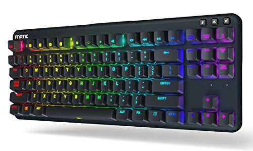 Fnatic miniSTREAK - LED Backlit RGB Mechanical Gaming Keyboard - Cherry MX Brown Switches - Small Compact Portable Tenkeyless Layout - Ergonomic Wrist Rest - Pro Esports Gaming Keyboard