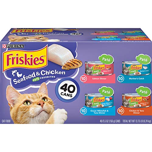 Purina Friskies Pate Wet Cat Food Variety Pack, Seafood & Chicken Pate Favorites - (40) 5.5 oz. Cans