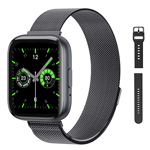 Smart Watch with Call,G.Home Fitness Tracker for Android Phones and Compatible with iPhone,Waterproof Smartwatch Step Counter with Heart Rate Sleep Monitor (1.54' ,Black+2 Bands)