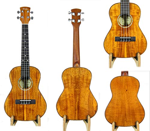 Alulu Handmade Solid Curly PQ Acacia Koa Wood Tenor Ukulele. Including One Hard Case.