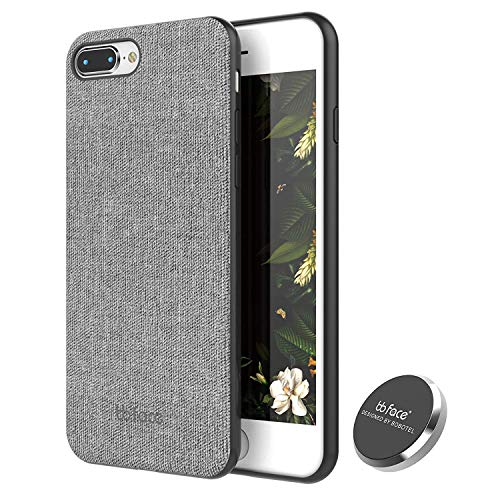 iPhone 8 Plus Case, iPhone 7 Plus Case PU Leather Fabric Pattern Phone Cover Magnet Absorbent Function Hard Back Case with in-Car Magnet Holder (DO NOT Support Wireless Charging) - 5.5 Inch, Grey
