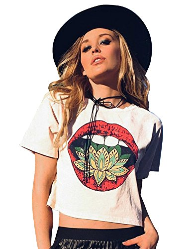 FV RELAY Women's Short Sleeve Graphic Lips Print T Shirts Casual Crop Tops T-Shirts for Teen Girls (S, White)
