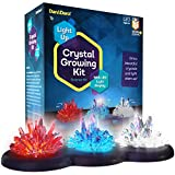 Light-up Crystal Growing Kit for Kids - Grow Your Own Crystals and Make Them Glow : Best Science Experiments Gifts for Kids, Boys & Girls - STEM Toys - Crystal Making Science Kits - (Red White Blue)