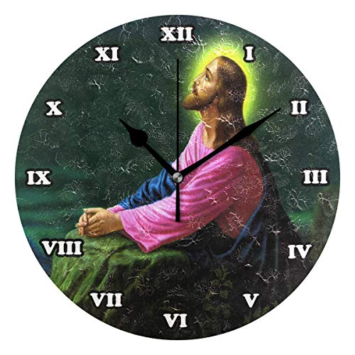 Abbylife Jesus Christ Round Wall Clock, Silent Non-Ticking Easy to Read Decorative Battery Operated Wall Clock Art for Living Room Home Office School 9.45'x9.45'x0.2'