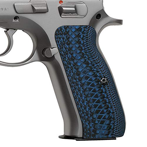 Cool Hand G10 Grips for CZ 75 Full Size, SP-01 Series, Shadow 2, 75B BD, SP-01, Gun Grips Screws Included, Snake Scale Texture, Blue/Black, H6-2-8