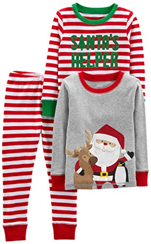 Simple Joys by Carter's Boys' 3-Piece Snug-Fit Cotton Christmas Pajama Set, Red/White Stripe/Santa, 18 Months
