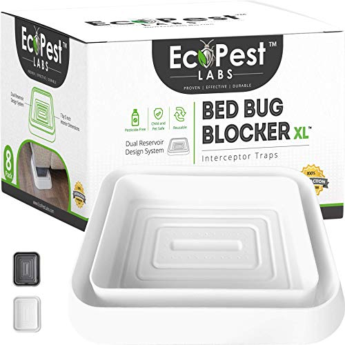 Bed Bug Interceptors – 8 Pack | Bed Bug Blocker (XL) Interceptor Traps (White) | Extra Large Insect Trap, Monitor, and Detector, for Bed Bugs