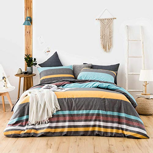 SUSYBAO 3 Piece Duvet Cover Set 100% Cotton King Size Multi-Colored Horizontal Striped Bedding Set 1 Minimalist Duvet Cover with Zipper Ties 2 Pillowcases Luxury Quality Soft Comfortable Breathable