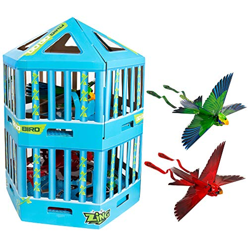 Zing Go Go Bird Special Edition Cage Packaging with 2 Birds – Remote Control Flying Toy – Red and Green - Great Starting RC Toy for Boys and Girls That is Easy to Use Indoors and Outdoors