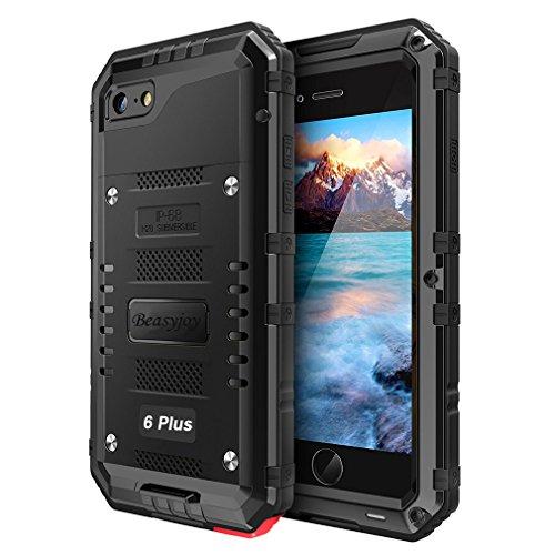 Beasyjoy iPhone 6 Plus Case 6s Plus Metal Case Heavy Duty Waterproof with Screen Military Grade Full Body Hard Durable Shockproof Rugged Defender Outdoor Black