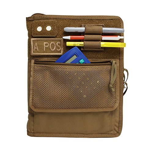Tactical 3-Ring Binder Cover, Military Field Admin, for 9x6 Paper, Zippered (Coyote Brown)