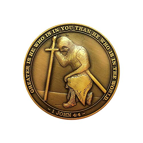 The Task Ahead, I Can Do All Things, Challenge Coins, Antique Gold Plated, Featuring a Kneeling Knight Templar and Philippians 4:13