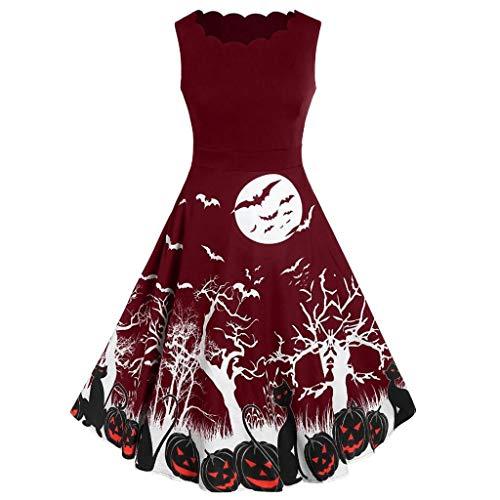 Halloween Costume,VEKDONE Women's Vintage 1950's Sleeveless Bat Spider Pumpkin Skeleton Printed Rockabilly Party Dress(Wine,X-Large)