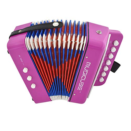 MUSICUBE 10 Keys Accordion, Accordion for Kids, Solo and Ensemble, Musical Instrument for home and classroom, Purple