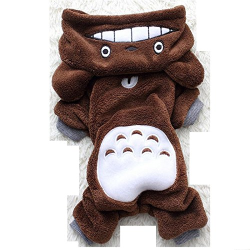 Totoro Hoodie Costume Warm Dog Clothes Pet Jacket Coat Puppy Cat Sweater Apparel (Brown Totoro, S)