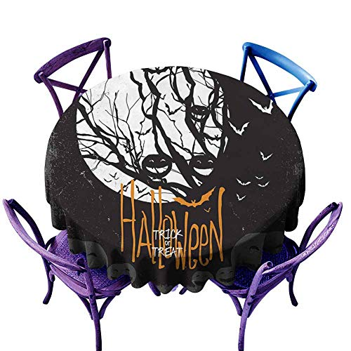 DILITECK Picnic Round Tablecloth Vintage Halloween Halloween Themed Image with Full Moon and Jack o Lanterns on a Tree Black White Round Table D50(D128cm)