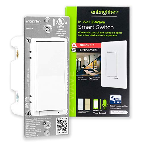 GE 46201 Enbrighten Z-Wave Plus Smart Light Switch with QuickFit and SimpleWire, Works with Alexa, Google Assistant, Zwave Hub Required, Repeater/Range Extender, 3-Way 2nd Gen, White & Light Almond