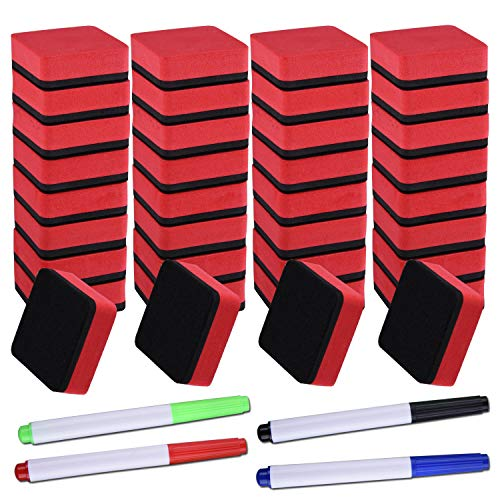 SIQUK 36 Packs Dry Erase Eraser Magnetic Whiteboard Eraser Red Chalkboard Cleansers Wiper(1.97 x 1.97 Inches) with 4 Pieces Whiteboard Markers
