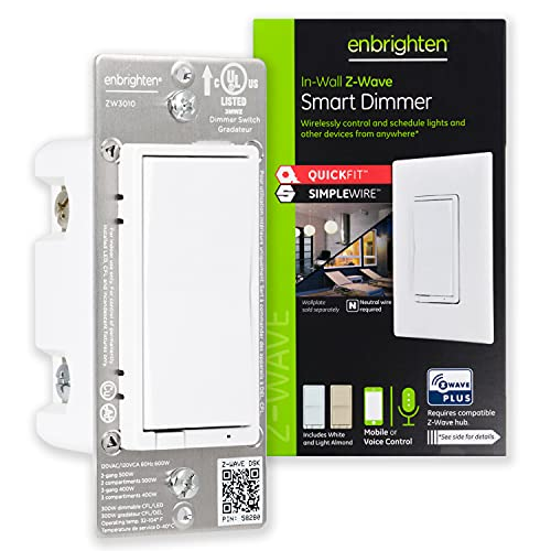 GE Enbrighten Z-Wave Plus Smart Light Dimmer with QuickFit and SimpleWire, 3-Way Ready, Works with Alexa, Google Assistant, ZWave Hub Required, Repeater/Range Extender, White & Light Almond, 46203