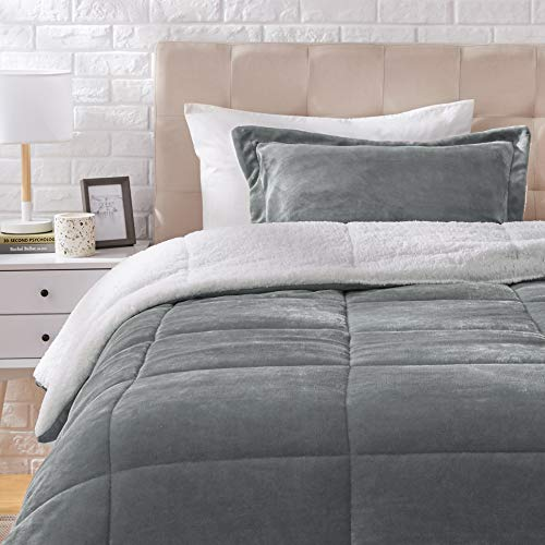 Amazon Basics Ultra-Soft Micromink Sherpa Comforter Bed Set, Twin, Charcoal - 2-Piece