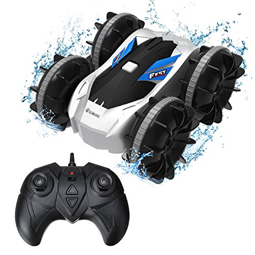 RC Boat for Kids, EACHINE EC21 Waterproof Stunt Car Remote Control Car for Boys Age 8-12, 2 in 1 RC Boat for Kids and Adult for Lake/Pool/Pond Amphibious Remote Control car (Blue)