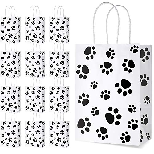 20 Pieces Puppy Dog Paw Print Treat Bags with Paper Twist Handles, Paper Paw Print Goodie Bags Dog Gift Bags Cat Treat Bags for Pet Treat Party Favor, 6.3 x 3.1 x 8.6 Inch