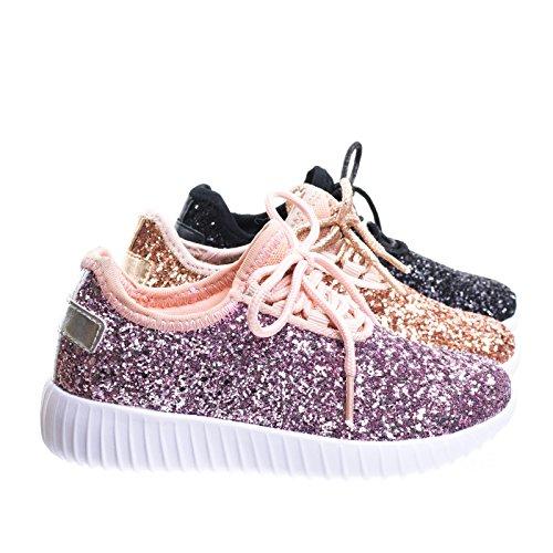 Link Lace up Rock Glitter Fashion Sneaker for Children/Girl/Kids Pink, 4 Big Kid