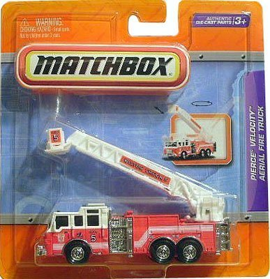 Matchbox 4' Real Working Rigs Die-Cast, (Red w/White Cab) PIERCE VELOCITY AERIAL FIRE TRUCK (Wilton Truck 5)