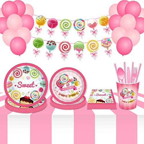 CC HOME Candy Party Decorations,Candyland Plates,Cups,Napkins,Lollipop Balloons,Rainbow Candy Banner,Candy Decorations for Kids Girls Birthday Party,Baby Shower,Wedding Bridal Shower,Christmas