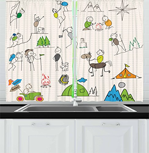Lunarable Happy Camper Kitchen Curtains, Active Lifestyle Doodles Tent Campfire Mountains Hills Holiday Illustration, Window Drapes 2 Panel Set for Kitchen Cafe Decor, 55' X 39', Green Ivory