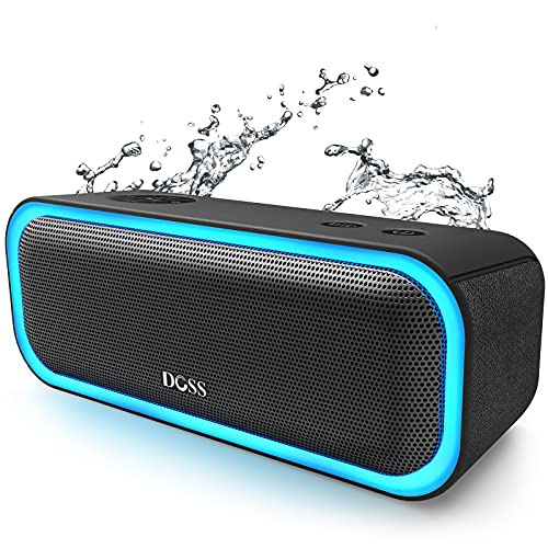 Bluetooth Speakers, DOSS SoundBox Pro Portable Wireless Bluetooth Speaker with 20W Stereo Sound, Active Extra Bass, IPX5 Waterproof, Wireless Stereo Pairing, Multi-Colors Lights, 20Hrs Playtime -Black