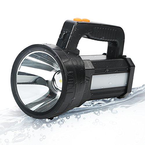 BIGSUN Bright LED Rechargeable Flashlight 9600mAh Brightest Hand held Spotlight Tactical High Power Searchlight (black)