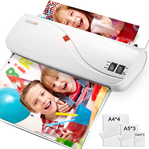 Thermal Laminator, Hot & Cold Laminating Machine with Two Heat Settings, ABS Button, 3 Min Fast Warm-up for Office/School/Home - 10 Laminator Pouches (4A4, 3A5, 3Card Films) Included MTL01