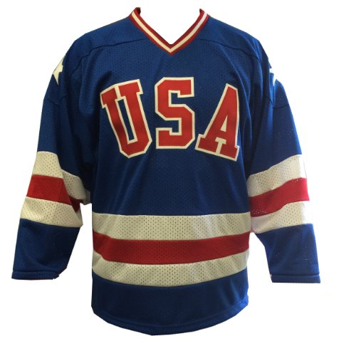 Blue Away 1980 USA Olympic Hockey Replica Game Mesh Jersey Miracle on Ice Adult (Medium)