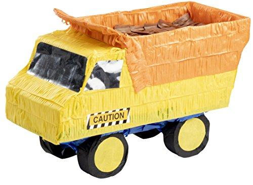 Blue Panda Small Dump Truck Pinata, Kids Construction Birthday Party Supplies, 15.5 x 9 x 6 Inches