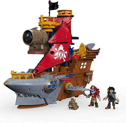 """Fisher-Price Imaginext Shark Bite Pirate Ship, Roll from one swashbuckling adventure to the next with this pirate ship playset featuring """"shark biting"""" action!, Multi-colored"""