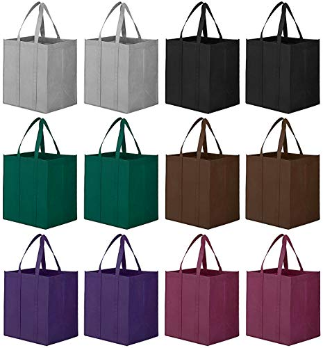 WiseLife Reusable Grocery Bags [ 12 Pack ],Large Foldable Shopping Bags Tote Bags,Eco-Friendly Produce Bags with Long Handle for Shopping Groceries Clothes Vegetables Fruits(6 Assorted Colors )
