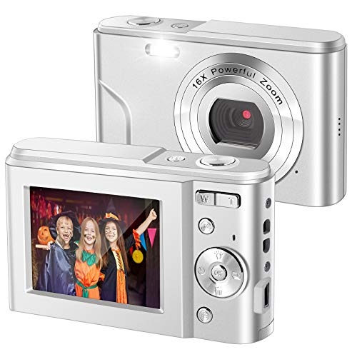 IEBRT Digital Camera,1080P Mini Kid Vlogging Camera Video Camera LCD Screen 16X Digital Zoom 36MP Rechargeable Point and Shoot Camera for Compact Portable Kids Teens Gift (2.4 inch Silver)