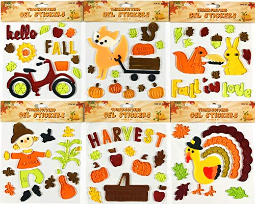 Fall Window Gel Clings: Autumn Squirrels Fox Pumpkins Leaves Thanksgiving Harvest Scarecrow Turkey Decorations for Home Office Business