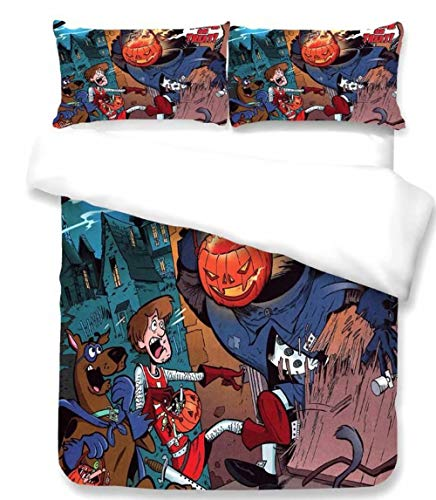 Microfiber Cartoon Bed Set Scooby Doo Duvet Cover 2 Piece Bedding Sheet Set for Boys Girls, Twin Size