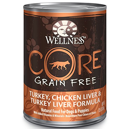 Wellness CORE Grain-Free Turkey, Chicken Liver & Turkey Liver Formula Canned Dog Food, 12.5 Ounces, Pack of 12