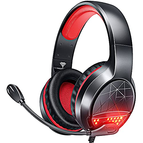BENGOO G9900 Gaming Headset Headphones for PS4 PS5 Xbox One PC Controller, Noise Isolating Over Ear Headphones with Mic, Red LED Light, Bass Surround for Super Nintendo Sega Dreamcast Sony PSP