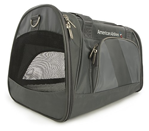 Sherpa, American Airlines Travel Pet Carrier, Airline Approved, Lightweight, Padded, Foldable, with Carrying Strap, Mesh Windows, Safety Locks, Charcoal, Medium