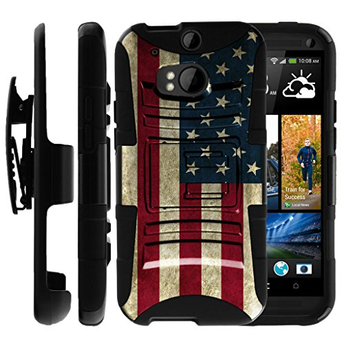 Untouchble Compatible with HTC One M8   HTC M8 Case [Heavy Duty]- Shockproof Swivel Holster Case with Built in Kickstand - Vintage America Flag