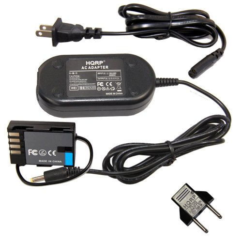 HQRP AC Power Adapter Compatible with Panasonic Lumix DMC-GH3 DMC-GH4 DMC-GH3K DMC-GH4K DC-GH5 DC-GH5L Digital Camera, DMW-BLF19PP DMW-DCC12 DMW-AC8PP + Euro Plug Adapter