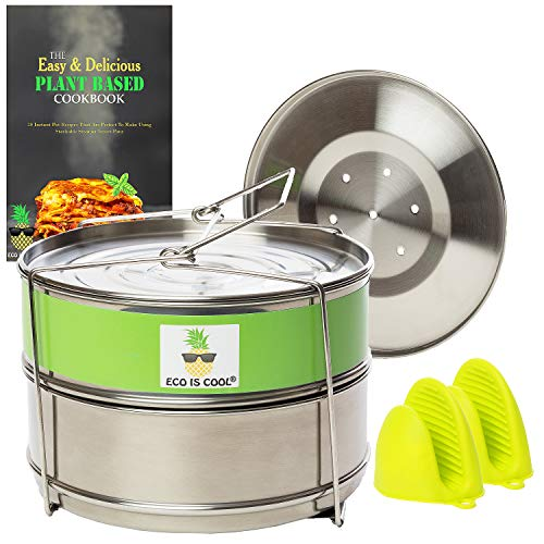 Stackable Steamer Insert Pans with Sling for Instant Pot Accessories 6/8 qt - Pot in Pot Cooking, Food Steamer for Pressure Cooker, Interchangeable Lids, Silicone Mitts + RECIPE BOOK