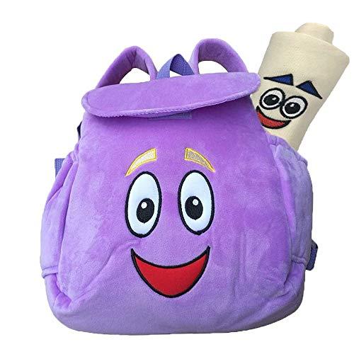 Dora Backpack,Purple Dora Explorer Soft Plush Backpack , For Backpacks Pre-Kindergarten Toys Birthday And New Year Gifts