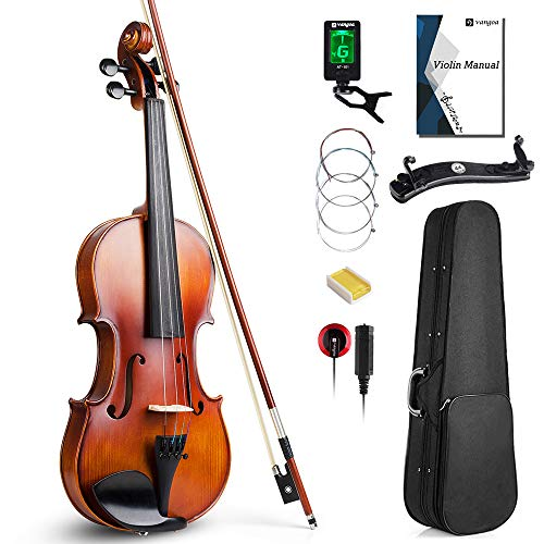 Vangoa 4/4 Full Size Solid Wood Violin Set, Spruce Top Ebony Fitted Beginner Acoustic Violin Fiddle Starter Kit with Tuner, Hard Case, Lesson Book, Rosin